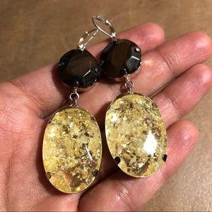 Jewelry - Wood and rhinestone earrings